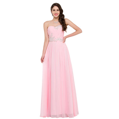 Grace Karin Women's Pink Strapless Sweetheart Chiffon Long Evening Dress
