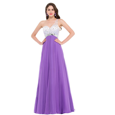 Grace Karin Women's Orchid One Shoulder Sweetheart Beading Embellished Wedding Party Chiffon Long Full-Length Evening Dress