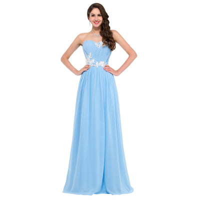 Grace Karin Women's Sky Blue Strapless Sweetheart Chiffon Long Evening Dress
