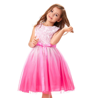 Tulle Netting Rosette Flower Girl's Princess Bridesmaid Wedding Skirt_Deep Pink