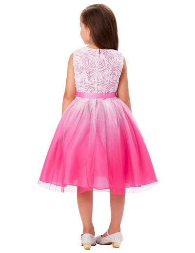 Mid-Calf Tulle Netting Rosette Girl's Bridesmaid Wedding Dress