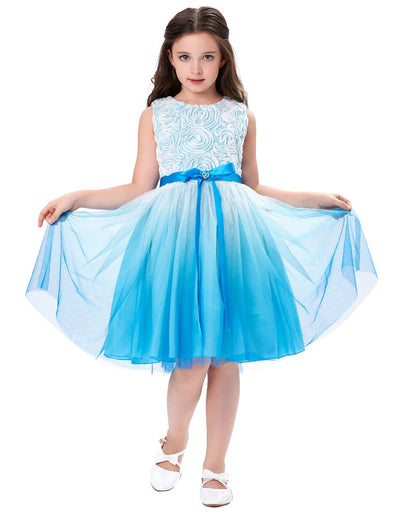 Tulle Netting Rosette Flower Girl's Princess Bridesmaid Wedding Skirt_Sky Blue