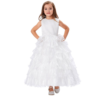 Grace Karin Princess A Line Round Neck Sleeveless Multi Layers Flower Girl Dress With Beading_White
