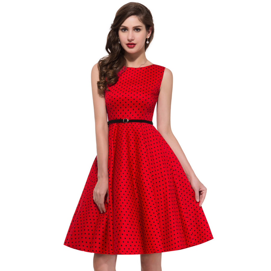 4f0b084265c9 Vintage Sleeveless Round Neck Polka Dots Cotton Party Dress ...