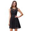 Grace Karin Crew Neck Sleeveless Knee-Length Floral Lace Casual Cocktail Dress_Black