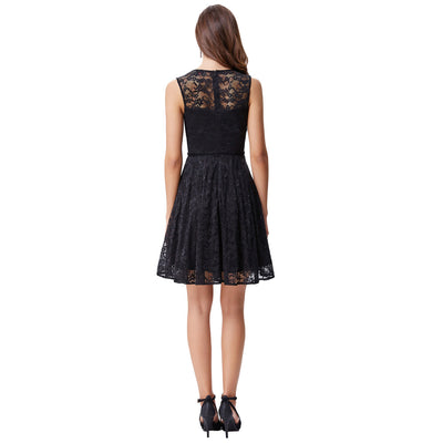 Grace Karin White and Black Sleeveless Floral Lace Cocktail Dress with Belt