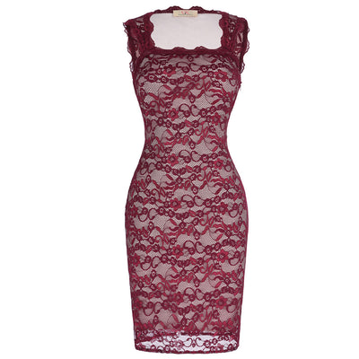 Grace Karin Sexy Square Neckline Sleeveless Lace Midi Bodycon Pencil Vintage Dress_Wine Red