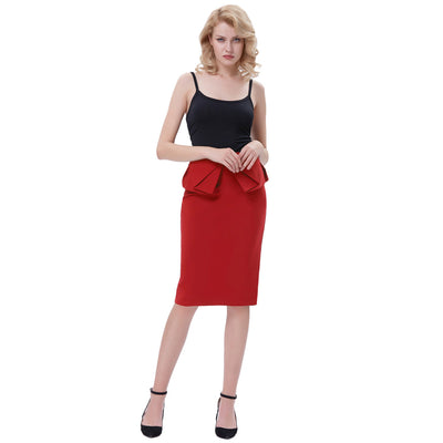 GRACE KARIN Women's Vintage Retro Solid Color High Stretchy Hips-Wrapped Pencil Skirt-Red