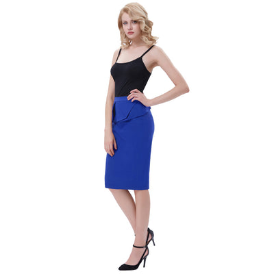 GRACE KARIN Women's Vintage Retro Solid Color High Stretchy Hips-Wrapped Pencil Skirt-Blue