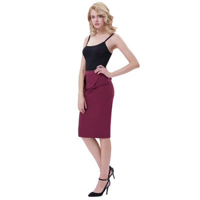 GRACE KARIN Women's Vintage Retro Solid Color High Stretchy Hips-Wrapped Pencil Skirt_Wine Red