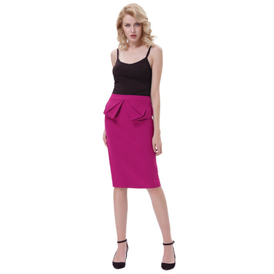 GRACE KARIN Women's Vintage Retro Solid Color High Stretchy Hips-Wrapped Pencil Skirt_Deep Pink