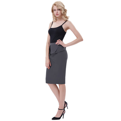 GRACE KARIN Women's Vintage Retro Solid Color High Stretchy Hips-Wrapped Pencil Skirt_Dark Grey