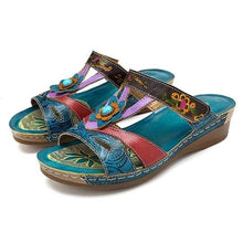Load image into Gallery viewer, Vintage Bohemian Women Slippers Low Heel Printed Woman Slides Beach Slippers