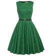 Grace Karin 1950s Vintage Sleeveless Boat-Neck Dress with Belt
