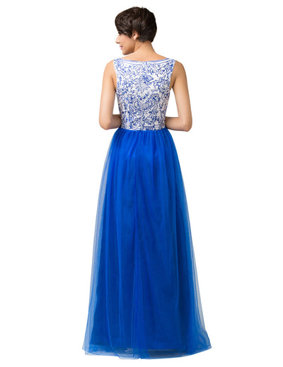 Blue & White Soft Tulle Sleeveless Bridesmaid Princess Wedding Dress