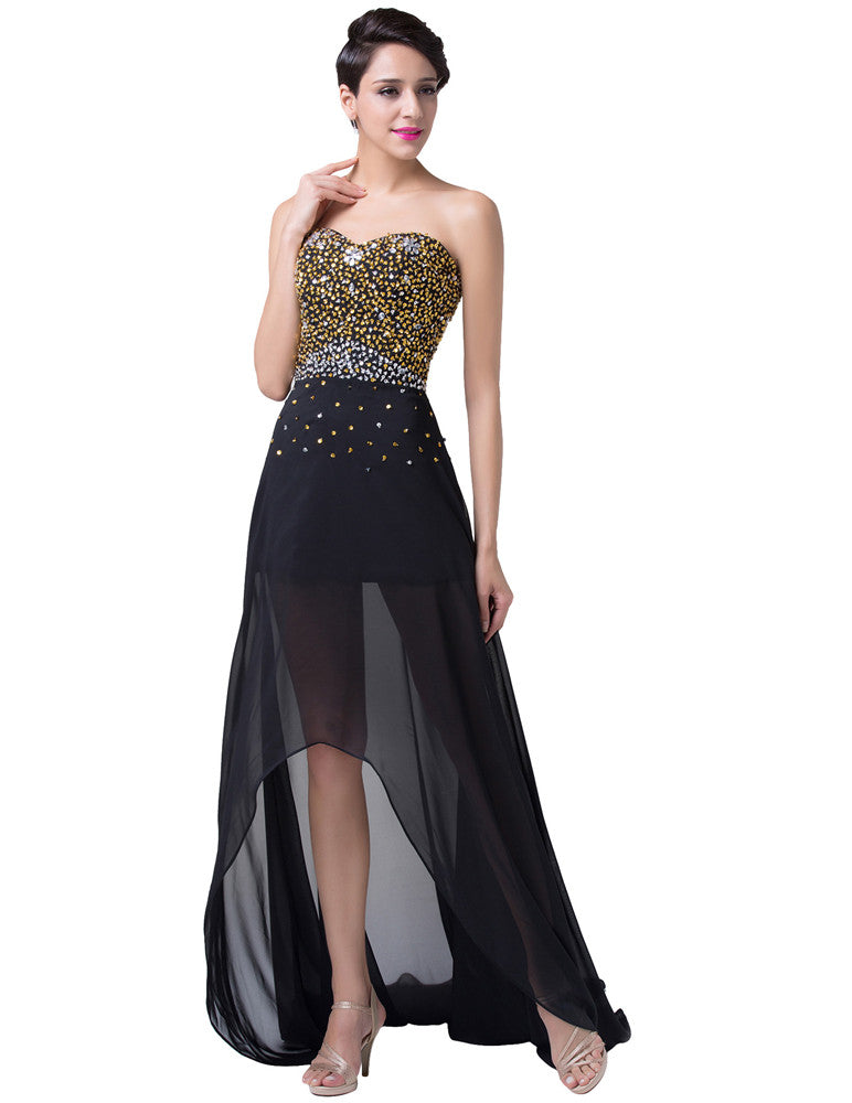 Grace Karin Strapless Sweetheart High Low Chiffon Evening Prom Party