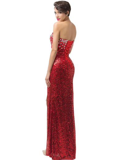 Red Strapless V-Neck Lace-Up Split Sequin Evening Prom Dress