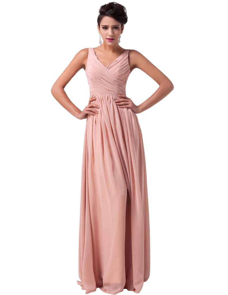 Ball Gown Evening Prom Party Dress - Deep-V Chiffon