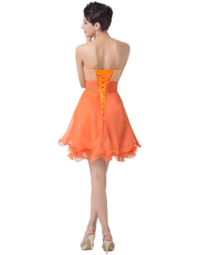 Orange Strapless Lace-up Chiffon Ball Cocktail Evening Dress