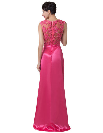 Deep Pink High-Low Embroidery Embellished Princess Evening Dress