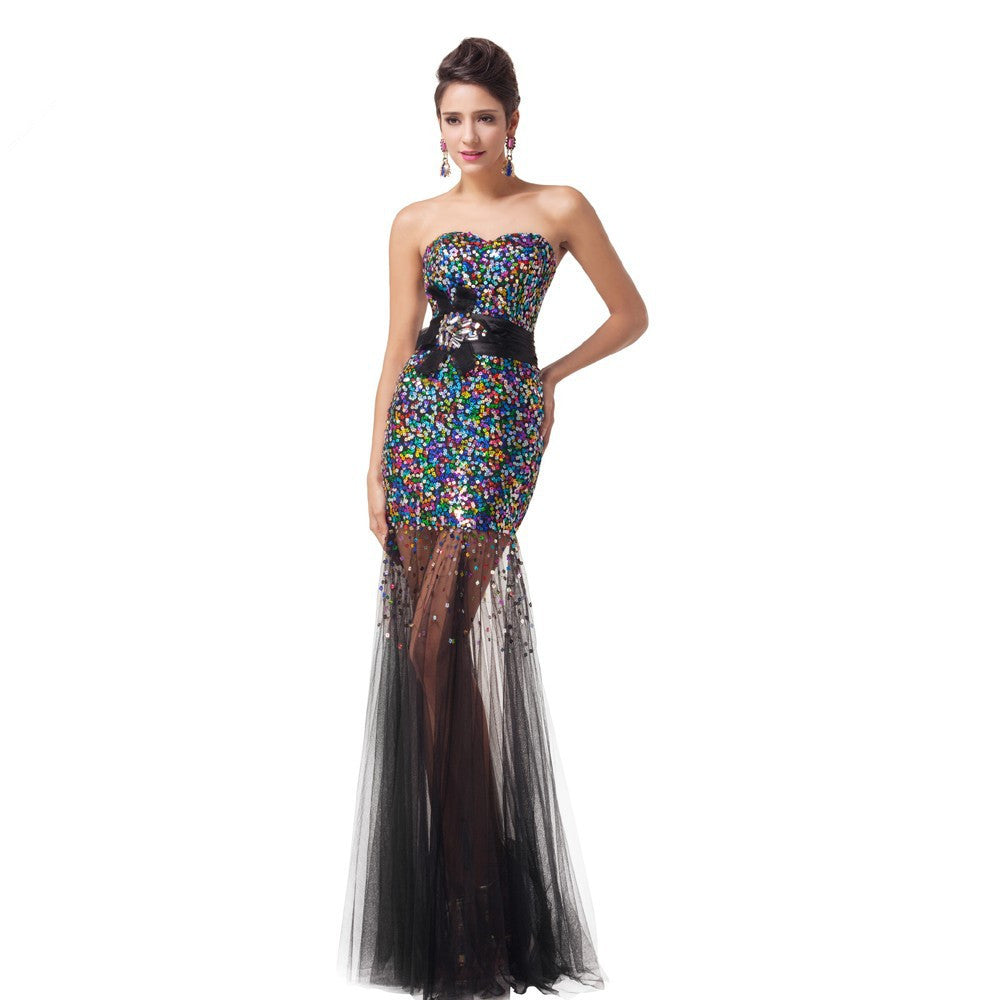Strapless Colorful Shinning Sequined Bridesmaid Wedding Dress