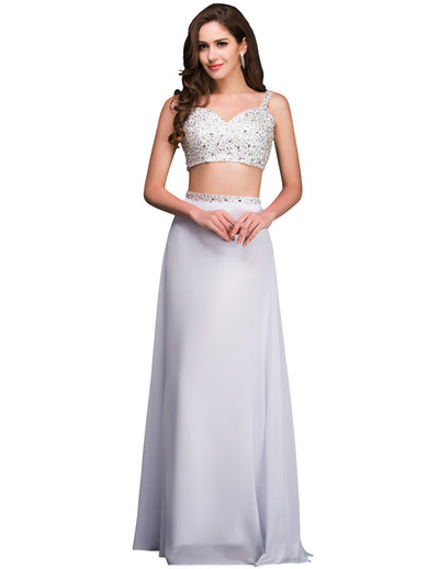 Grace Karin Spaghetti Straps 2 Pieces Bridesmaid Prom Party Mermaid Wedding Evening Dress_White