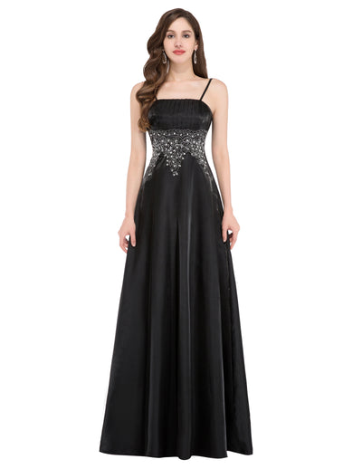 Stock Spaghetti straps Ball Gown Evening Prom Party Dress