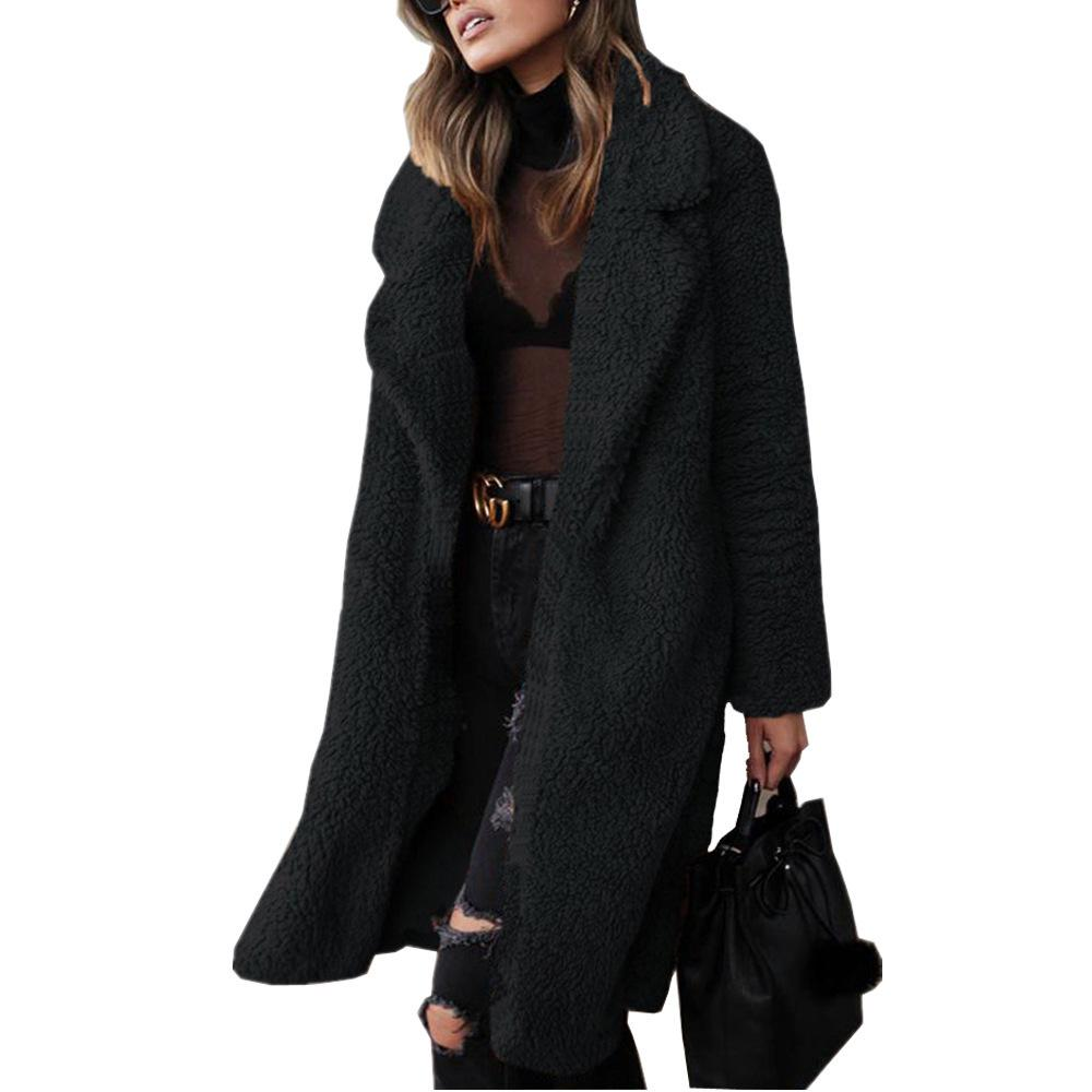 Long-sleeved plush top lamb wool long coat