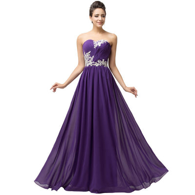 Grace Karin Women's Purple Strapless Sweetheart Chiffon Long Evening Dress