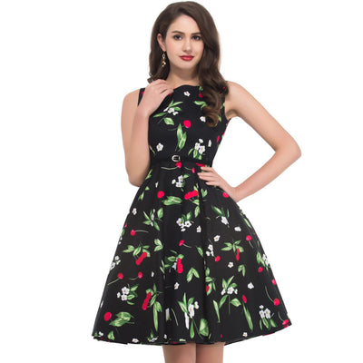 Grace Karin Vintage Floral Print Boatneck Sleeveless Swing Dress With Belt