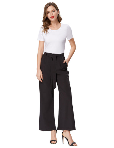 Grace Karin Women's Casual Striped High Waisted Wide Leg Long Pants_Solid Black
