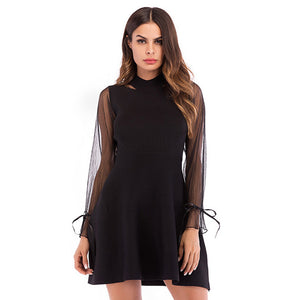 Women's Slim Round Neck Dress Long Sleeve High Waist Holiday Evening Party