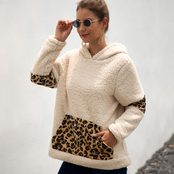 Women Pocket Leopard Print Hooded Sweatshirt Autumn Winter Pullover Splice