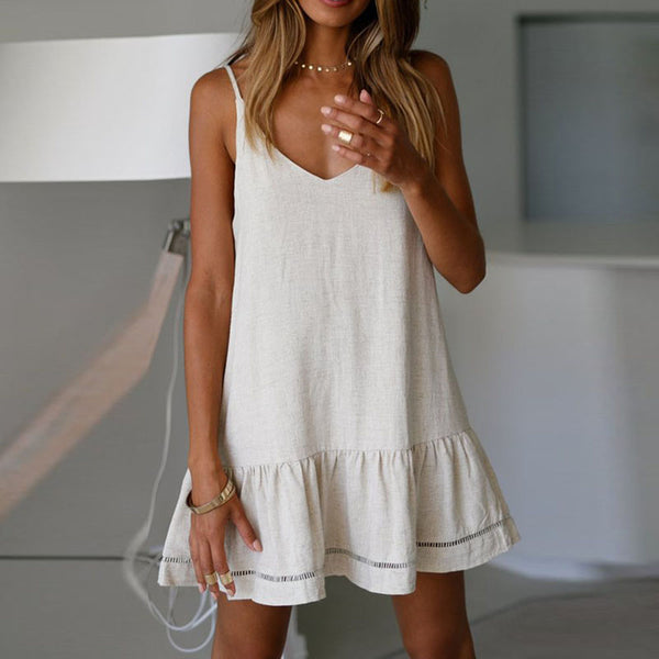 Women Mini Dress V-Neck Solid Color Backless Sling Hollow Fashion Summer
