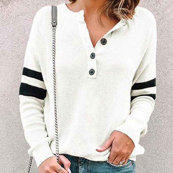 Women Casual Simple Round Neck Buttons Tops Loose Long Sleeve T-Shirt Plus Size