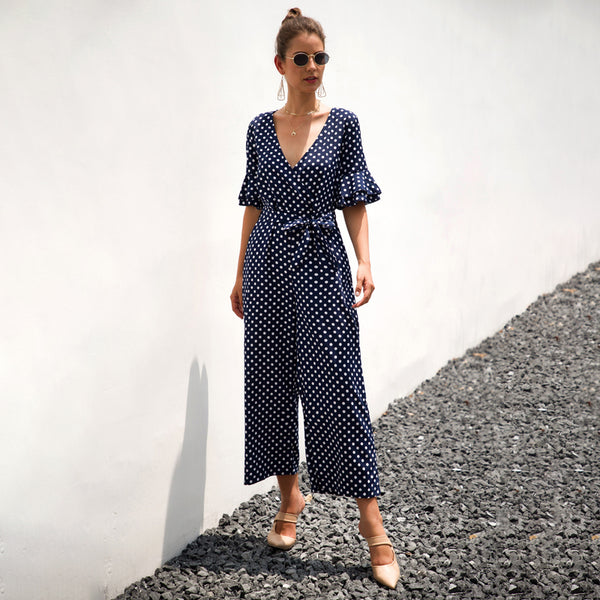 Women V-Neck Short Bell Sleeve Jumpsuit Summer Dot Lace-Up Wide Leg Casual