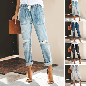 Women's Sexy Slim Mid Waist Denim Pants Trousers Ripped Jeans Plus Size