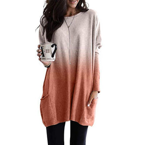 Gradient Pocket Long Sleeve Top