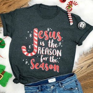 Women Jesus is The Reason for The Season Christmas shirt Round Neck Tops