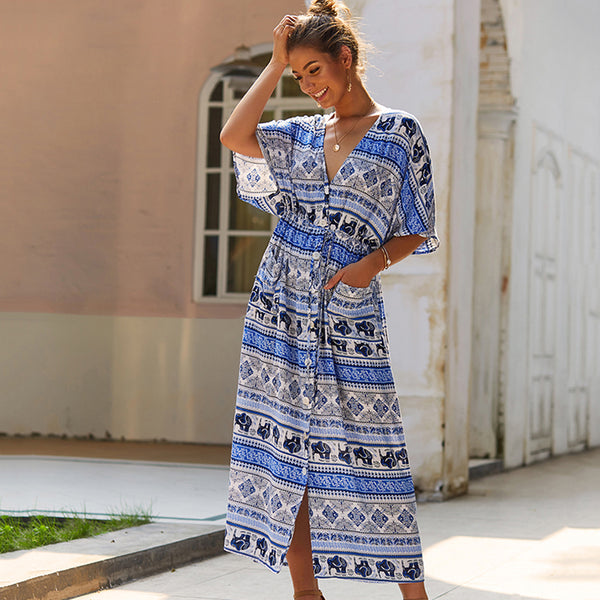 Women Summer V-Neck Midi Dress Boho Floral Split Half Sleeve Pocket Fashion
