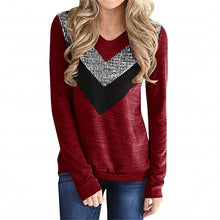 Load image into Gallery viewer, V-shaped Sequin Stitching Long-sleeved T-shirt