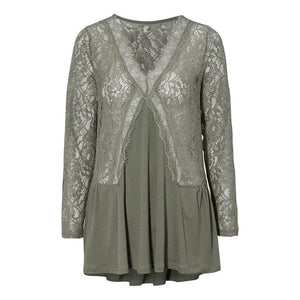 Lace Panel Long Sleeve Casual Transparent Lace Top