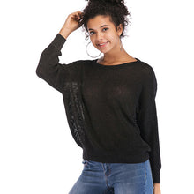 Load image into Gallery viewer, Women's Casual Loose V-Neck Tops Knitwear Pullover Long Sleeve Solid Color