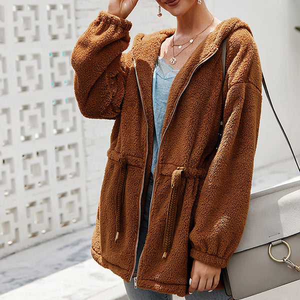 Women Slim Drawstring Hooded Coat Outwear Autumn Winter Warm Pocket Long Sleeve