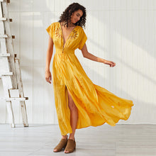 Load image into Gallery viewer, Women's Bohemian Yellow Sexy Hollow Embroidered V-neck Short Sleeve Split Dress