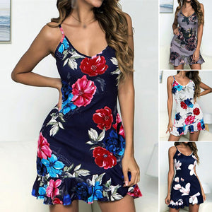 Women Girl Summer Boho Sexy Dress V-Neck Spaghetti Straps Backless Beach Holiday