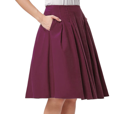 Women's High Stretchy Vintage Retro Red A-Line Short Skirt