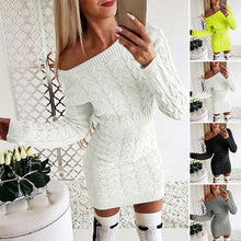 Load image into Gallery viewer, Autumn & Winter Women's Warm Sweater Mini Dress Long Knit Pullovers Casual