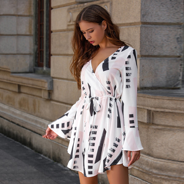 Summer Women's V-neck Long Sleeve Drawstring Waist Geometric Print Dress