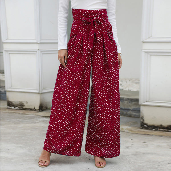 Women Pants Trousers Dot Lace-Up Zipper High Waist Wide Leg Fashion Casual